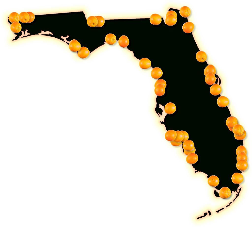 "Florida ""fancy Frame"" Style Maps In 30 Styles - Orange Florida Map"