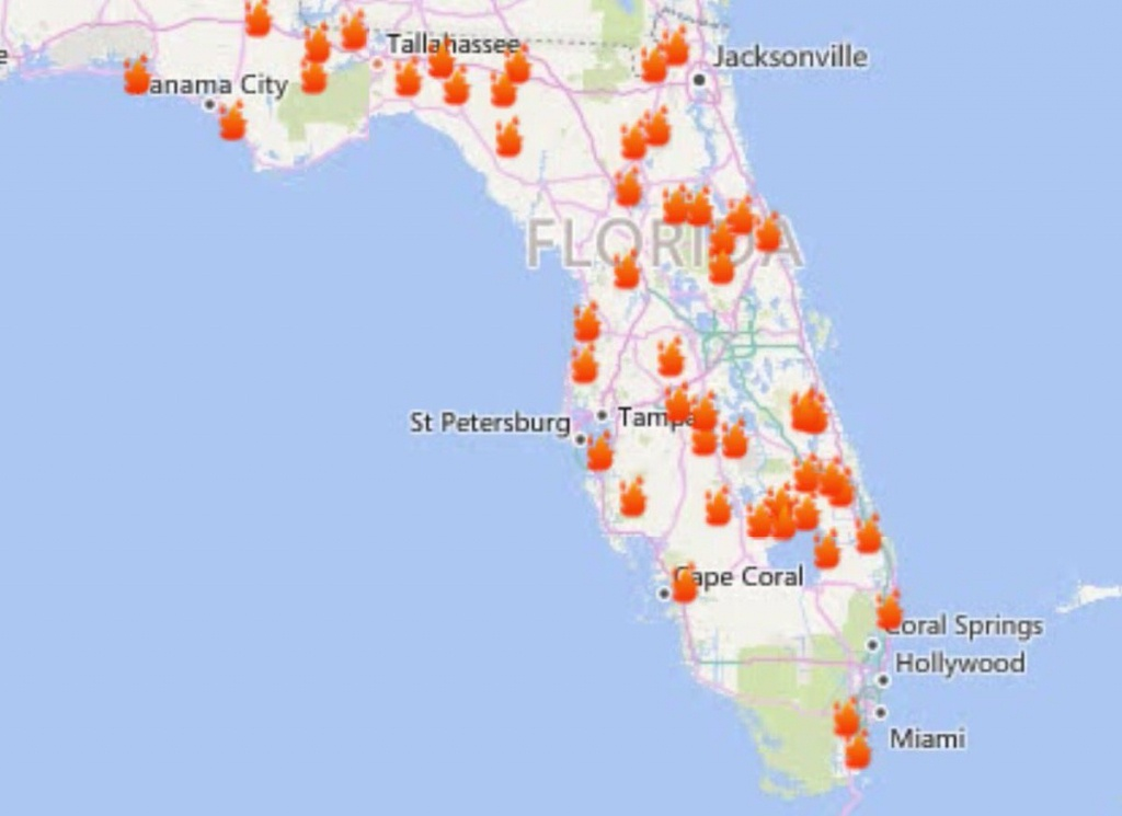 "Florida Forest Service On Twitter: ""current Active Wildfires 2/20 - Interactive Map Of Florida"