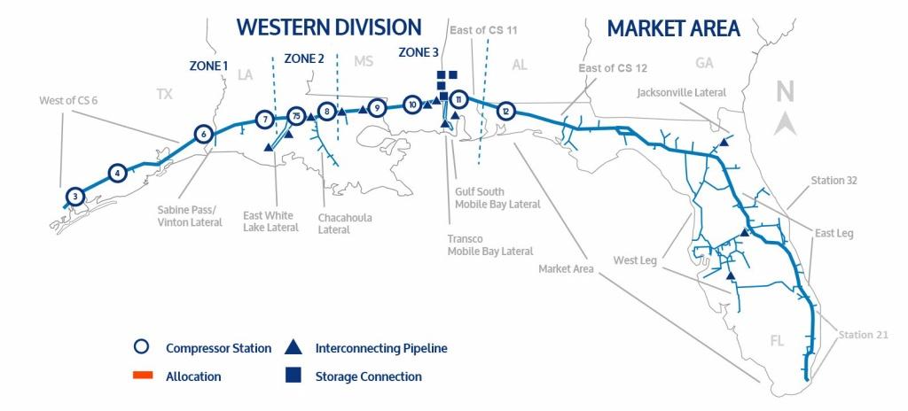 Florida Gas Transmission - Florida Gas Pipeline Map