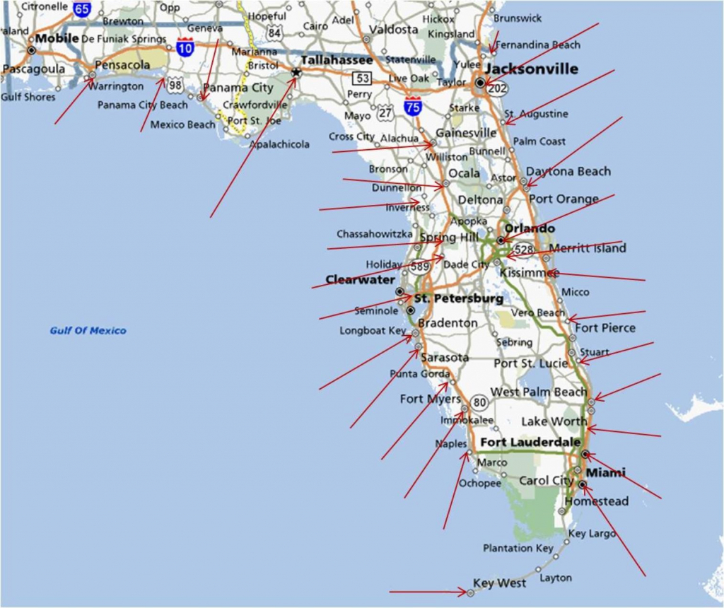 Florida Gulf Coast Beaches Map | M88M88 - Map Of Florida Gulf Side