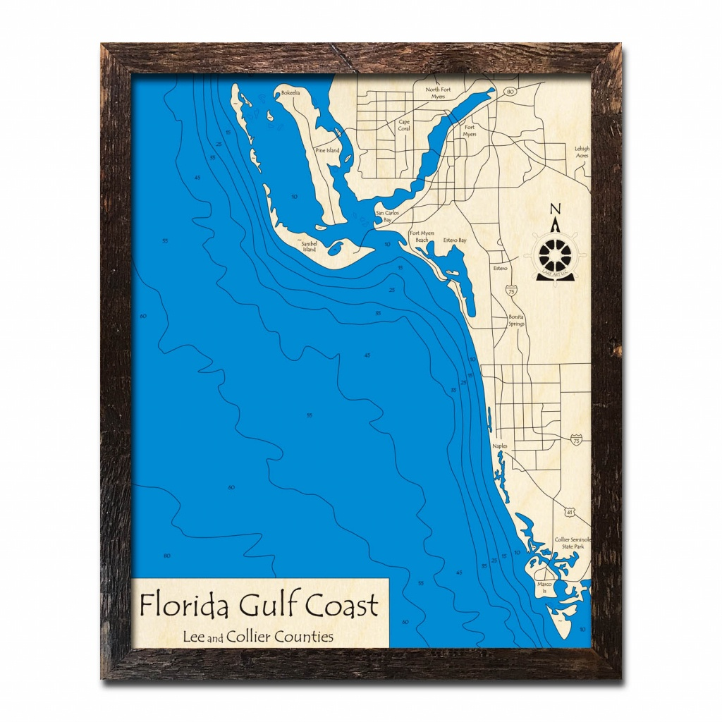 Florida Gulf Coast, Fl Nautical Wood Maps - Florida Gulf Map