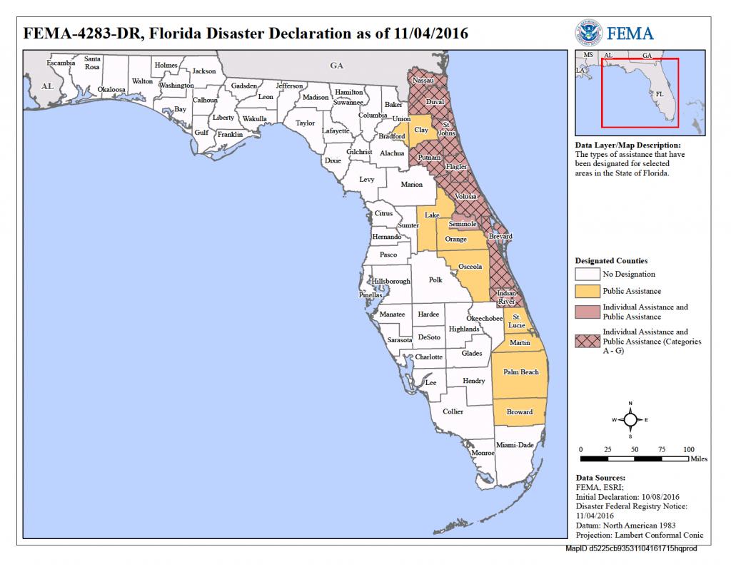 Florida Hurricane Matthew (Dr-4283) | Fema.gov - Florida Disaster Map