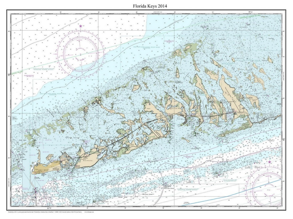 Florida Keys 2014 Nautical Map Florida Custom Print | Etsy - Florida Keys Nautical Map