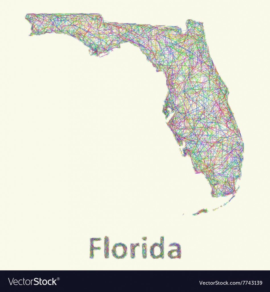 Florida Line Art Map Royalty Free Vector Image - Map Of Florida Art