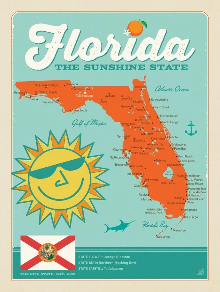 Florida Map | Anderson Design Group - Framed Map Of Florida