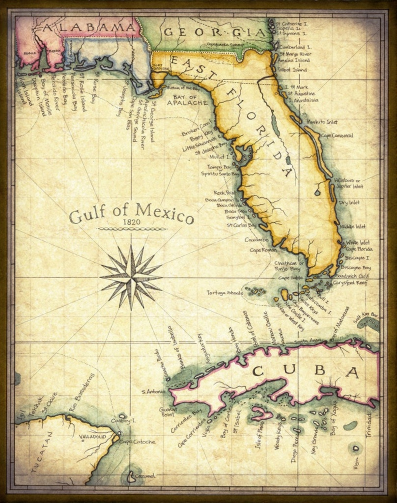 Florida Map Art 1820 11 X 14 Prints From Hand | Etsy - Old Florida Maps Prints