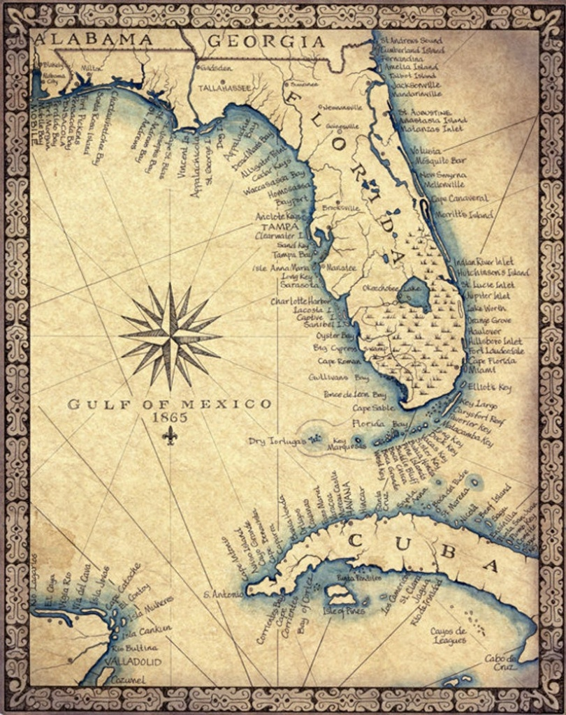 Florida Map Art Print C .1865 11 X 14 Hand Drawn | Etsy - Florida Keys Map Art