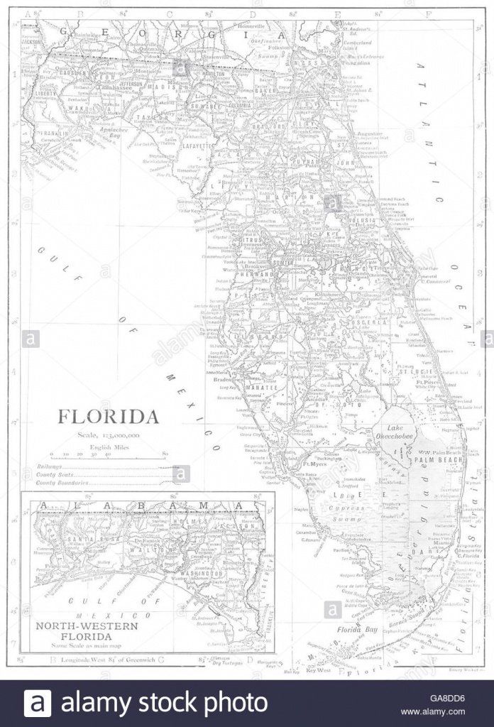 Florida Map Black And White Stock Photos & Images - Alamy - Florida Map Black And White