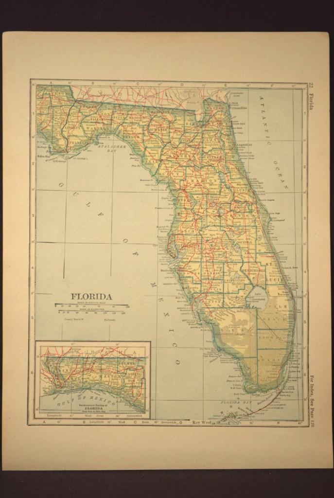 Florida Map Florida Railroad Antique State Original 1920S   Map Wall - Florida Map Wall Decor