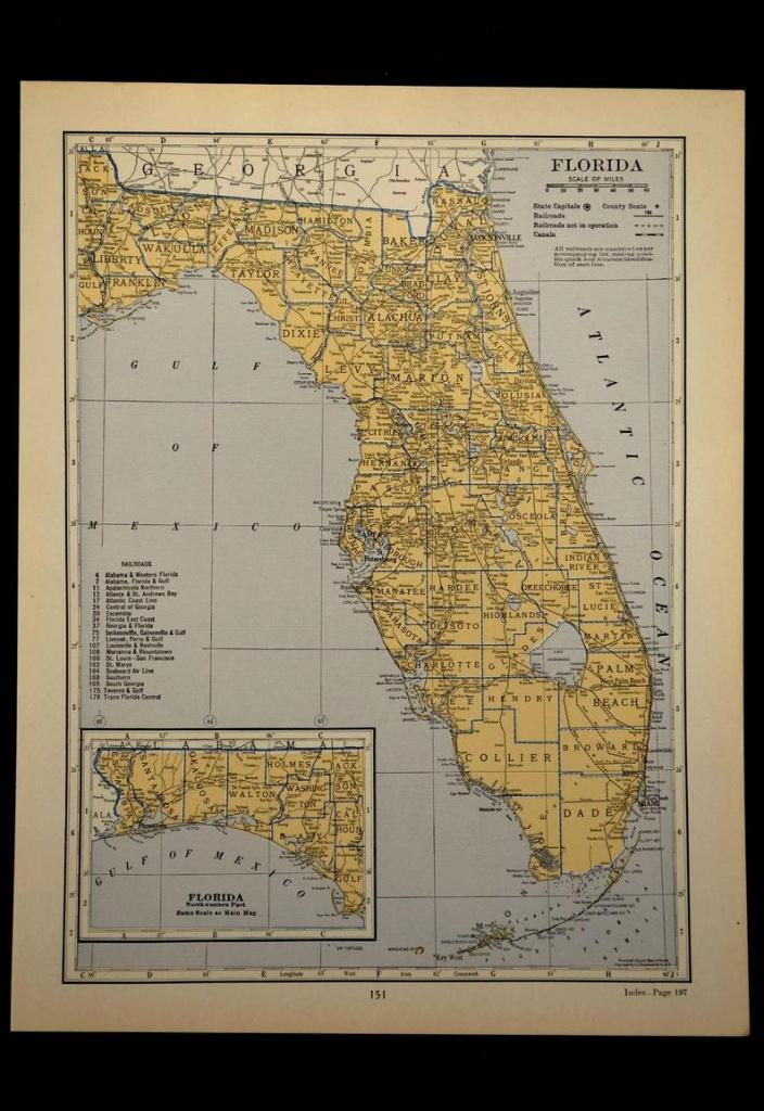 Florida Map Of Florida Wall Art Decor Antique Original | Etsy - Florida Map Wall Decor