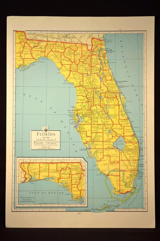 Florida Map Of Florida Wall Art Decor Colorful Yellow Vintage Gift - Florida Map Wall Decor