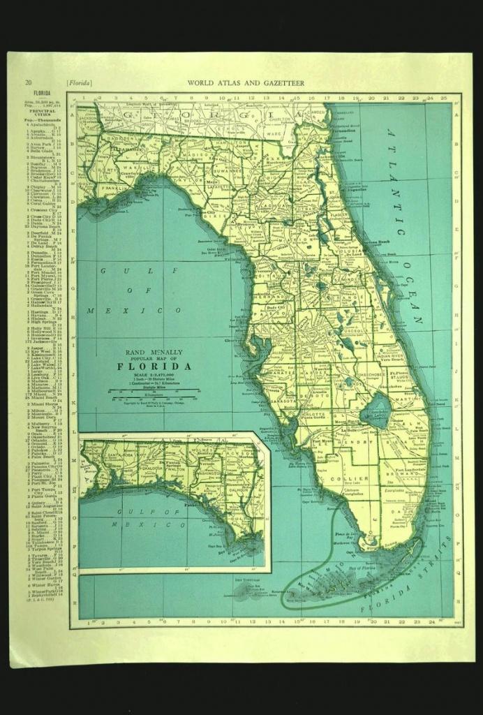 Florida Map Of Florida Wall Art Decor Print Vintage Old Green   Etsy - Florida Map Wall Decor
