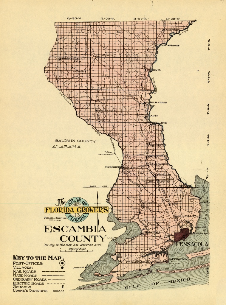 Florida Memory - Map Of Escambia County, 1914 - Map Of Escambia County Florida
