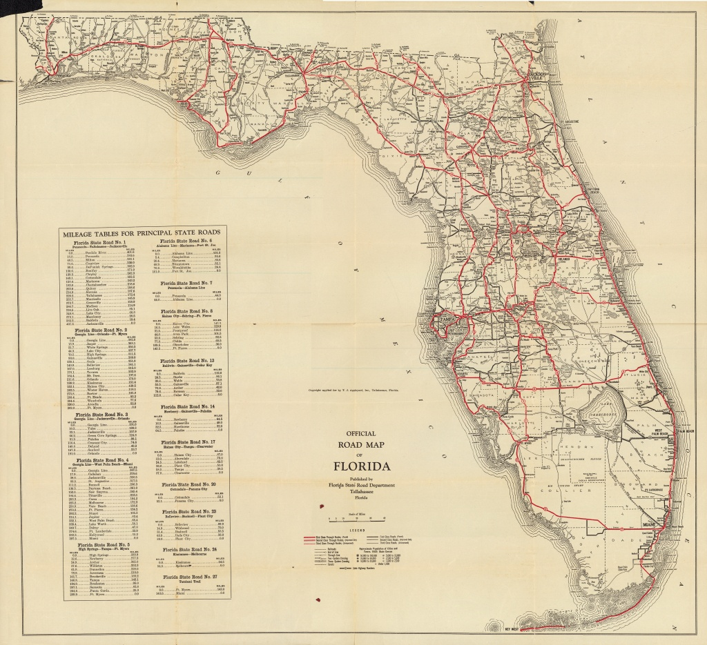 Florida Memory - Official Road Map Of Florida, 1930 - Lake Alfred Florida Map