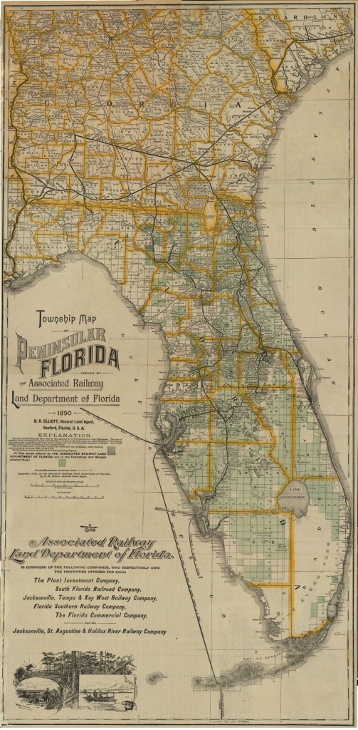 Florida Memory - Township Map Of Florida, 1890   Florida In 2019 - Old Florida Maps For Sale