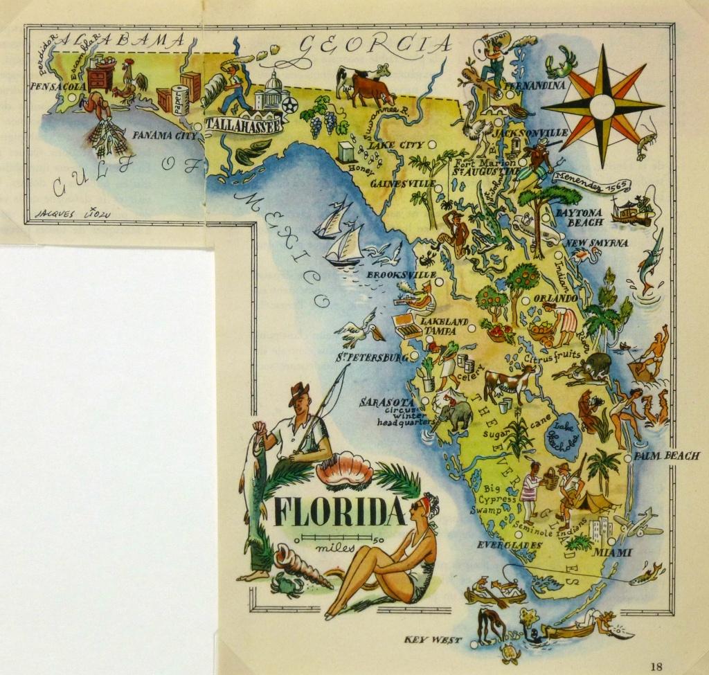 Florida - Original Art, Antique Maps & Prints - Map Of Florida Art