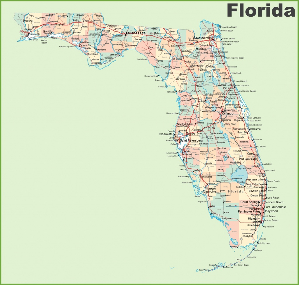 Florida Road Map With Cities And Towns - Florida County Map Printable