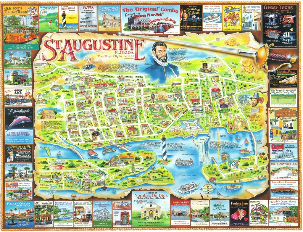 Florida St. Augustine Map Postcard | America's Oldest And Mo… | Flickr - St Augustine Florida Map