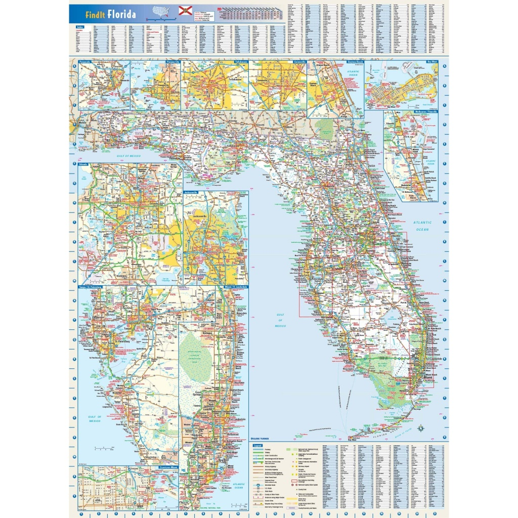 Florida State Wall Map - The Map Shop - Florida Wall Map