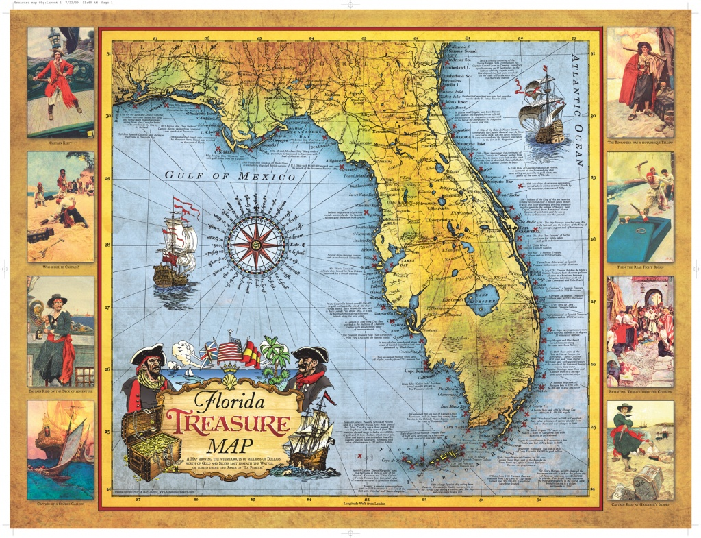 Florida Treasure Map | Historic Print & Map Company - Old Florida Maps Prints