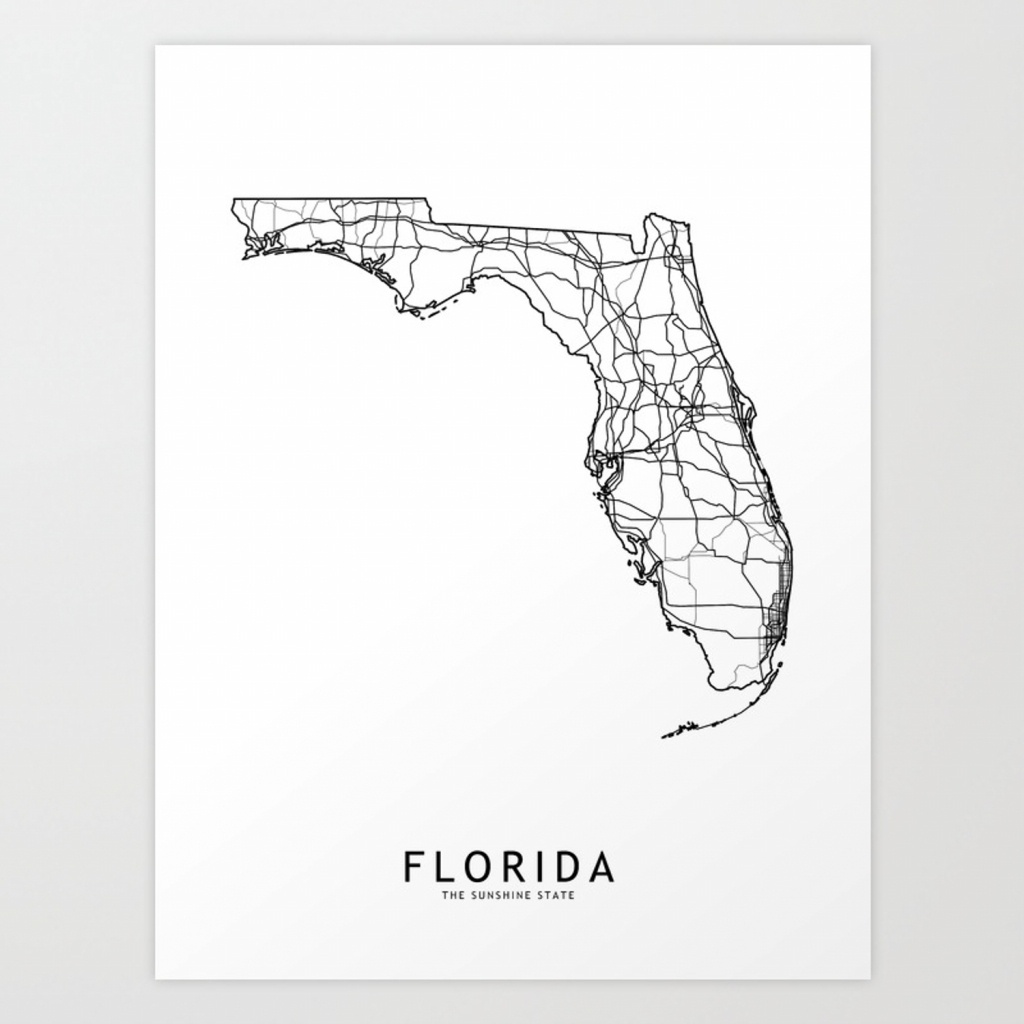 Florida White Map Art Printmultiplicity | Society6 - Florida Map Art