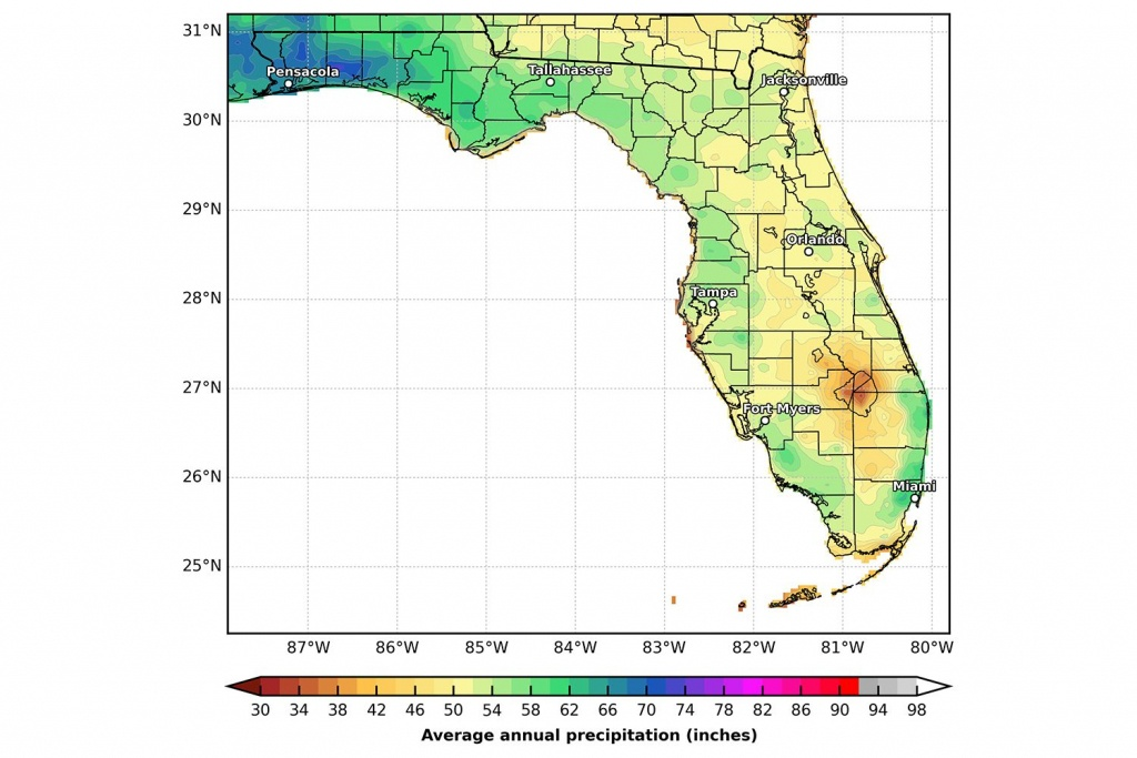 Florida's Climate And Weather - Florida Temp Map