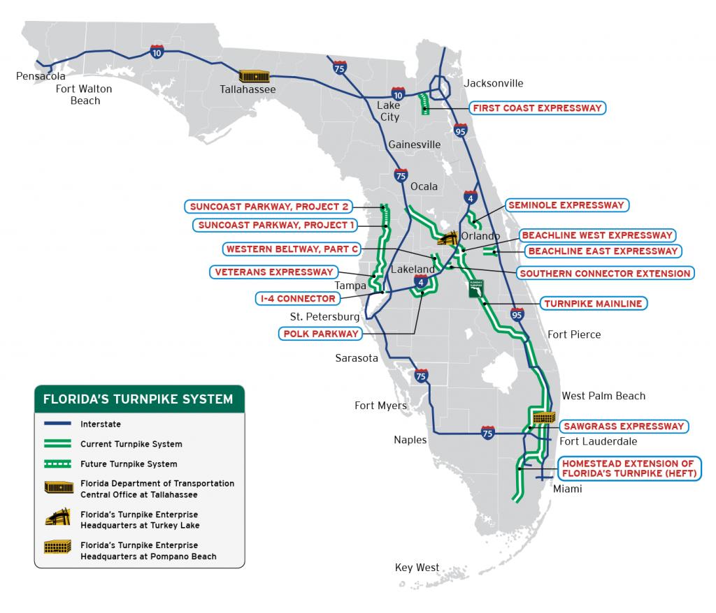 Florida's Turnpike - The Less Stressway - Florida Orange Groves Map
