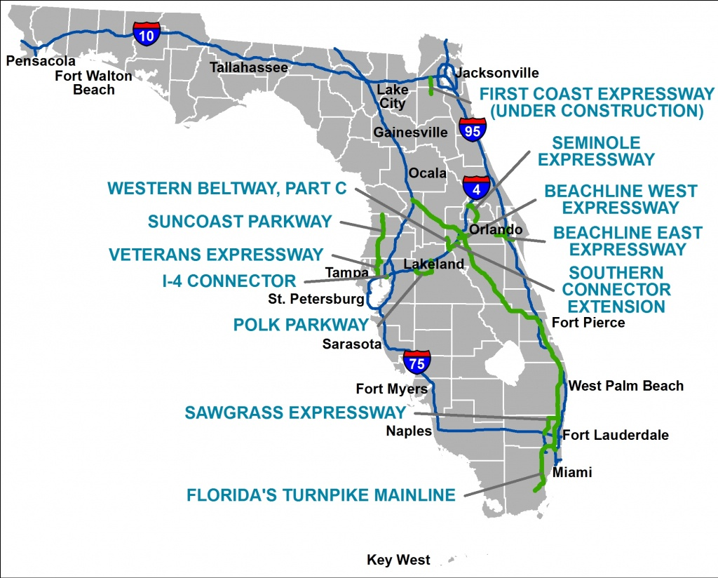 Florida's Turnpike - The Less Stressway - I Want A Map Of Florida
