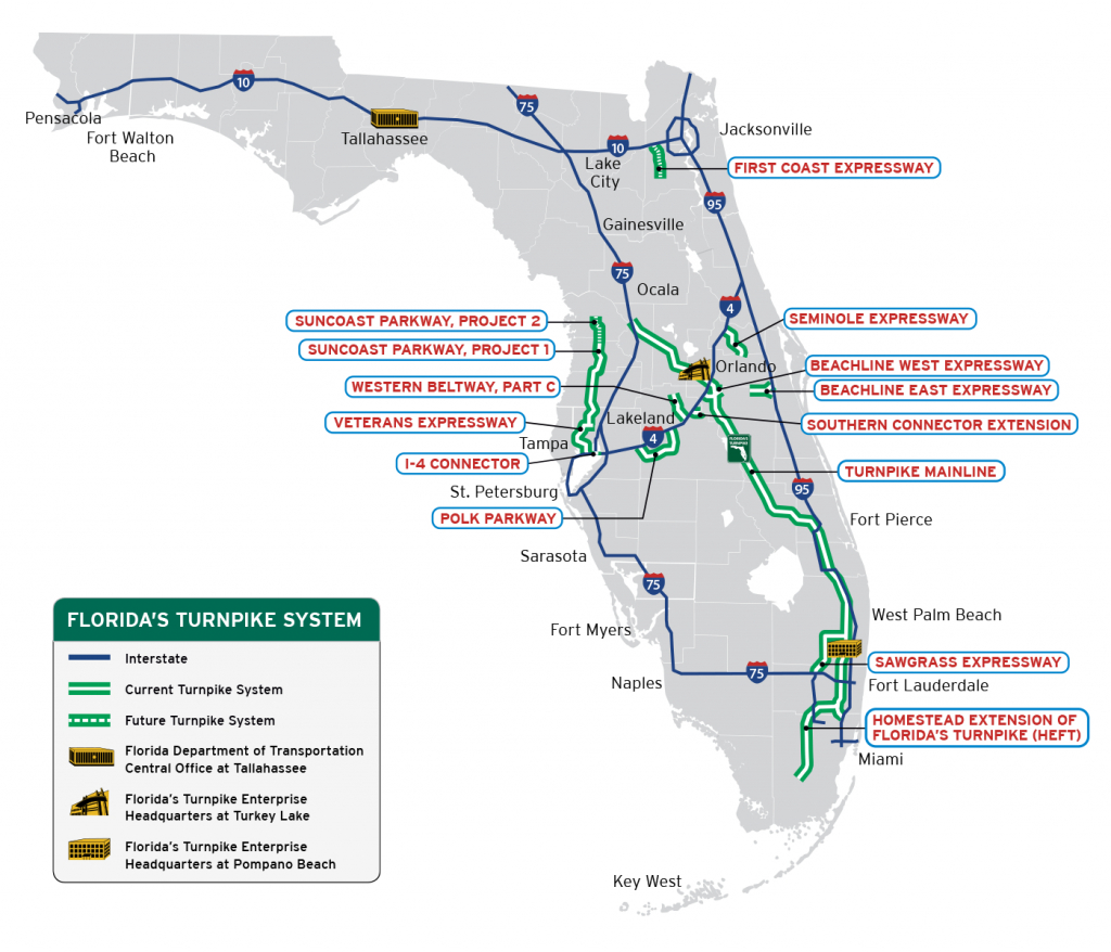 Florida's Turnpike - The Less Stressway - State Of Florida Map - State Of Florida Map Mileage