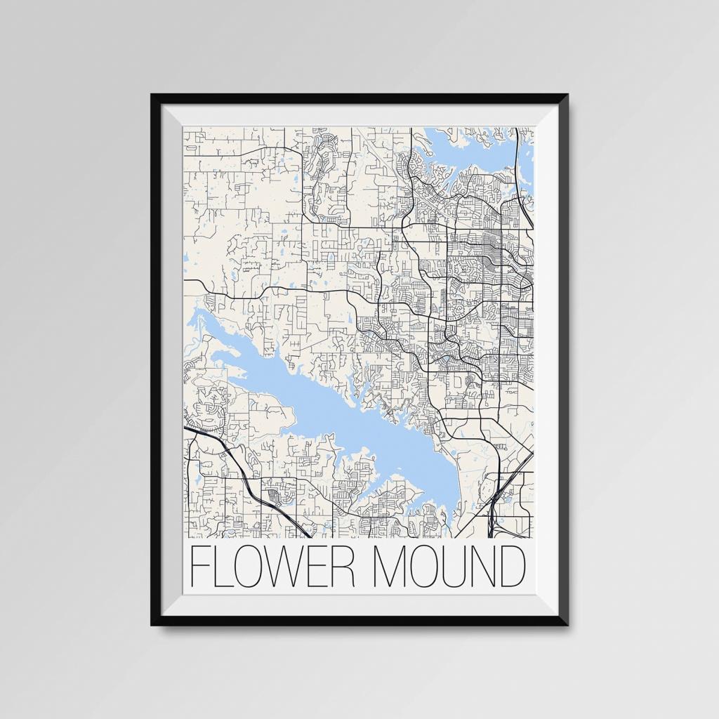 Flower Mound Texas Map Flower Mound City Map Print Flower | Etsy - Flower Mound Texas Map