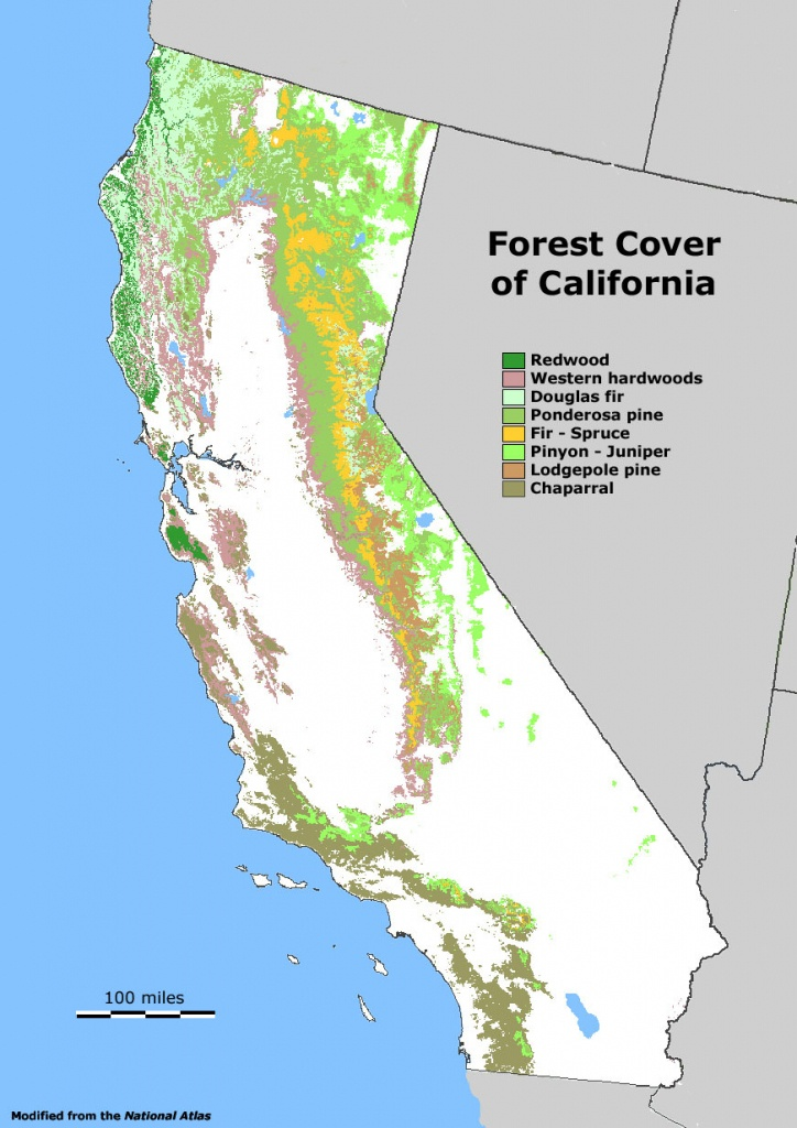 Forest Cover Map Of California [871 × 1232] : Mapporn - California Forests Map