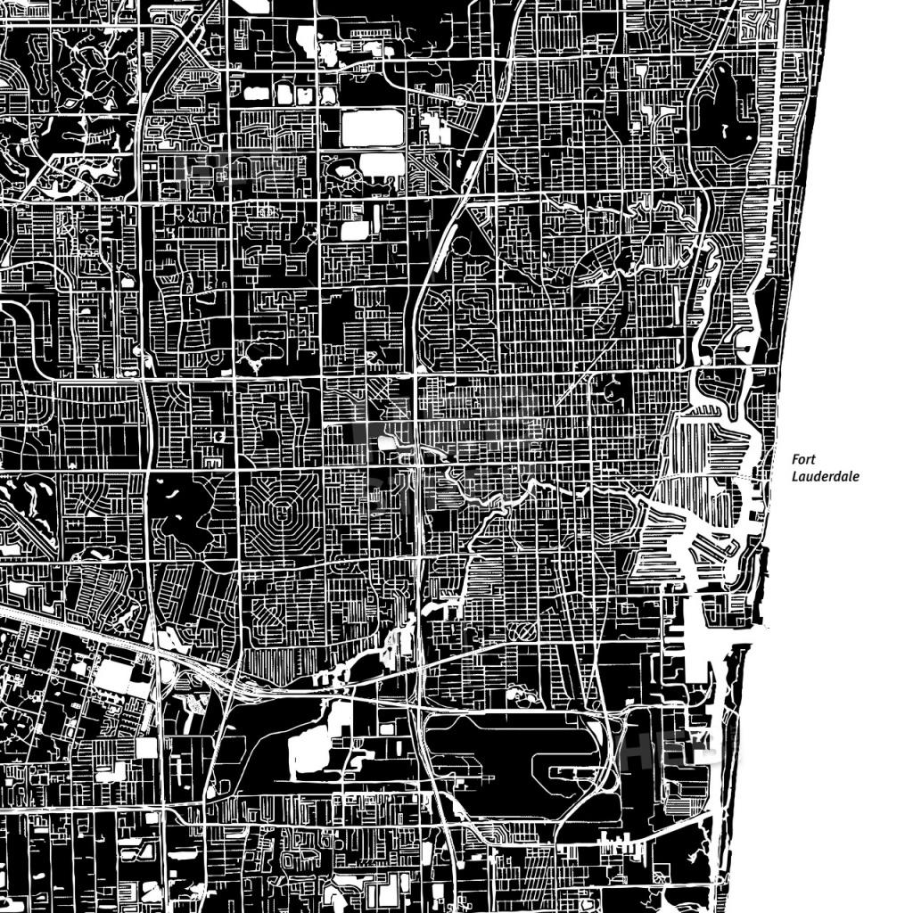 Fort Lauderdale, Florida, Downtown Map, Dark | Hebstreits Sketches - Street Map Of Fort Lauderdale Florida