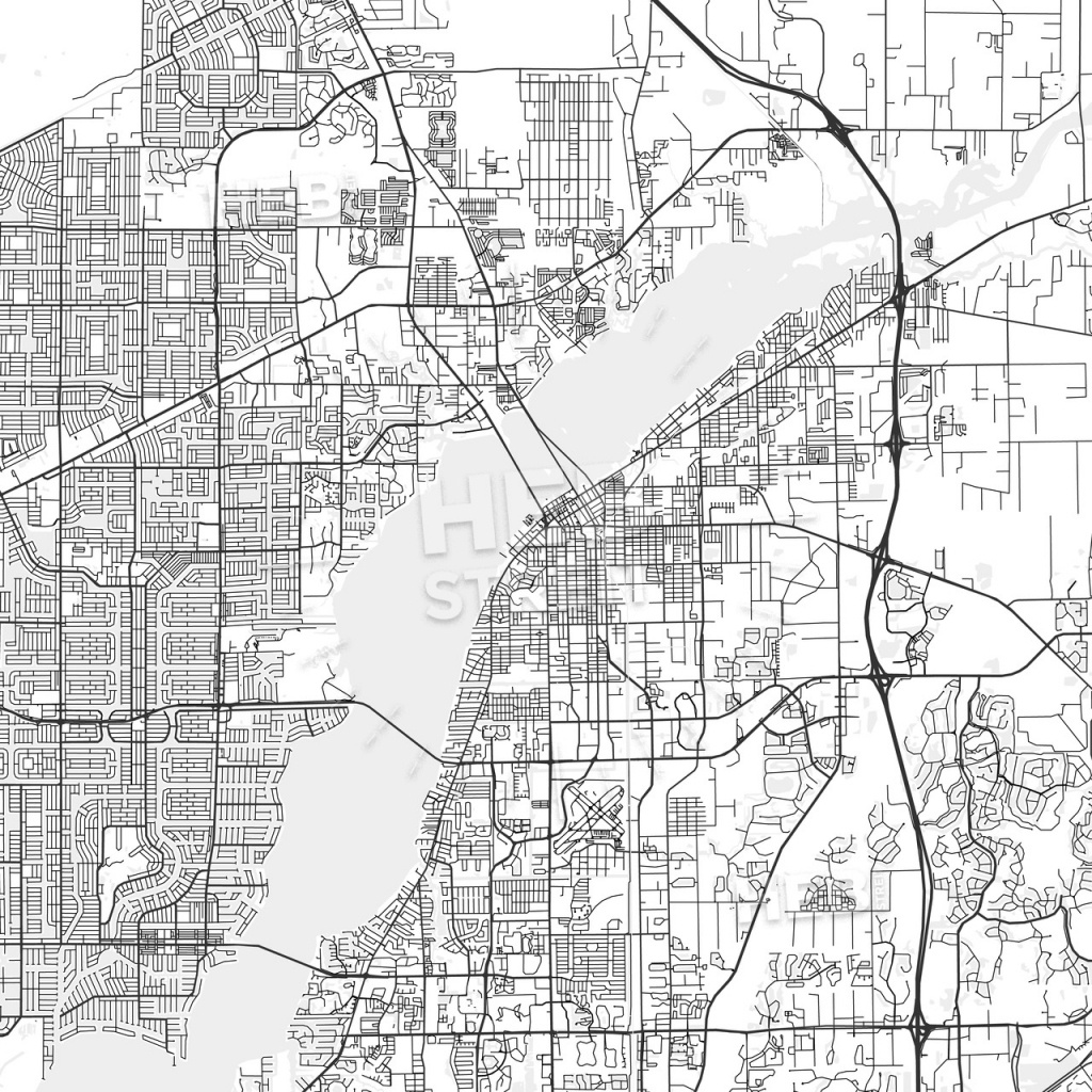 Fort Myers, Florida - Area Map - Light | Hebstreits Sketches - Where Is Fort Myers Florida On A Map