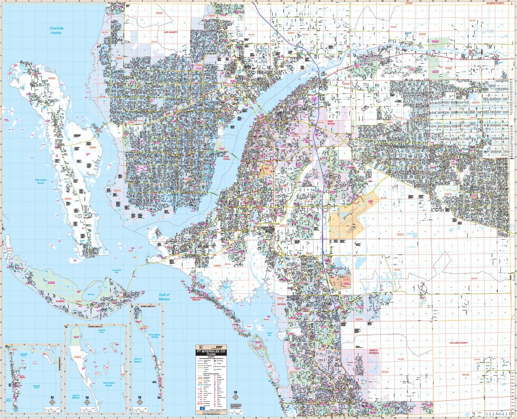 Fort Myers & Lee Co, Fl Wall Map – Kappa Map Group - Map Of Fort Myers Florida Area
