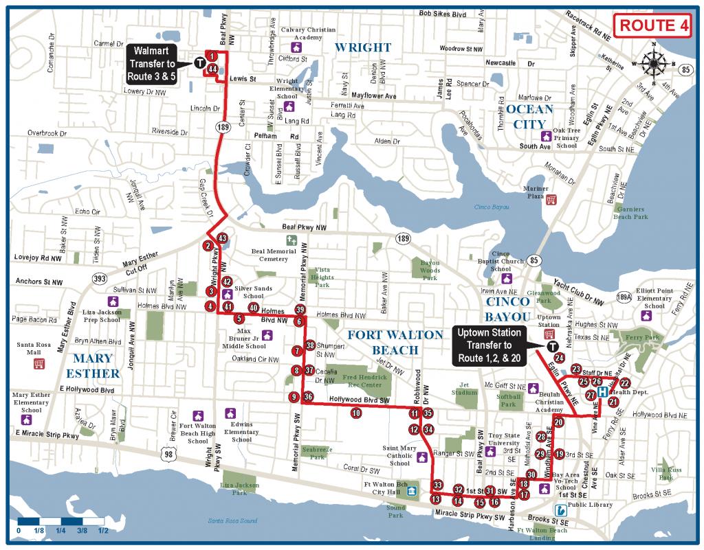 Fort Walton Beach Route 4 - Ec Rider - Fort Walton Beach Florida Map Google