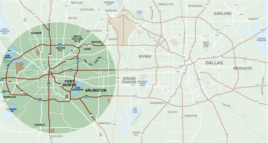 Fort Worth Surrounding Area Map - Fort Worth Tx • Mappery - Map Of Fort Worth Texas Area