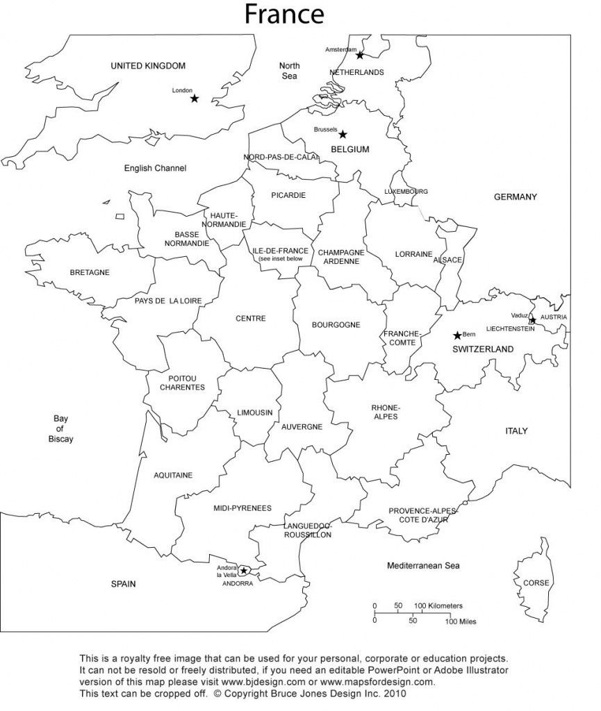 France Blank Printable Map With Provinces, Royalty Free, Clip Art - Me On The Map Printables