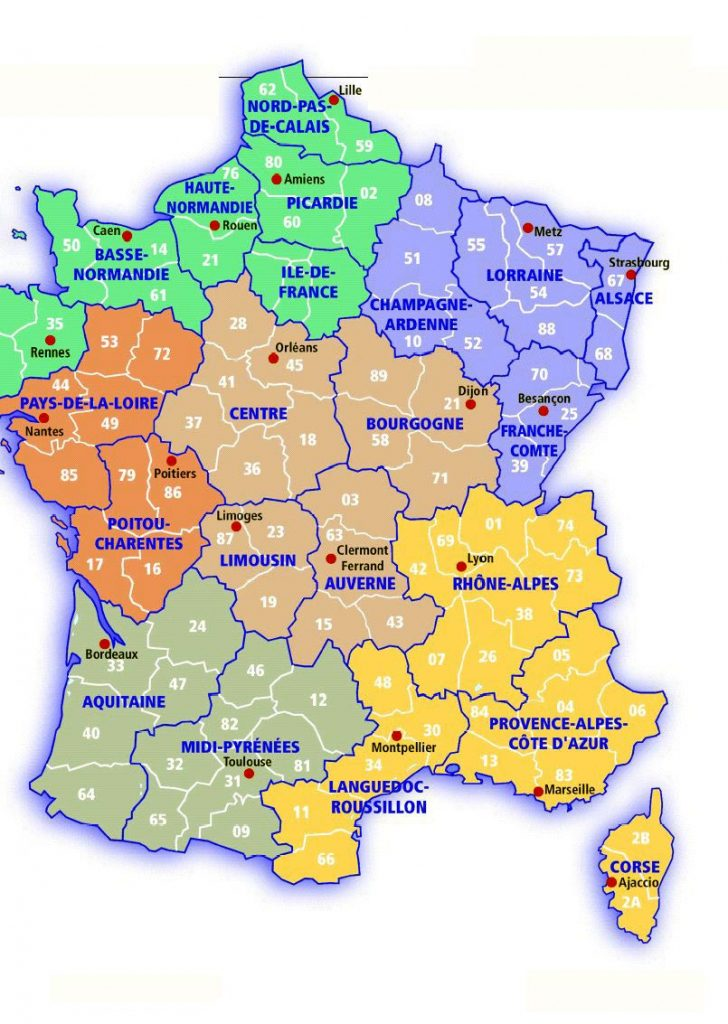 Printable Road Map Of France