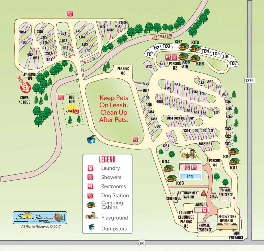 Fredericksburg, Texas Campground   Fredericksburg, Texas Koa - South Texas Rv Parks Map