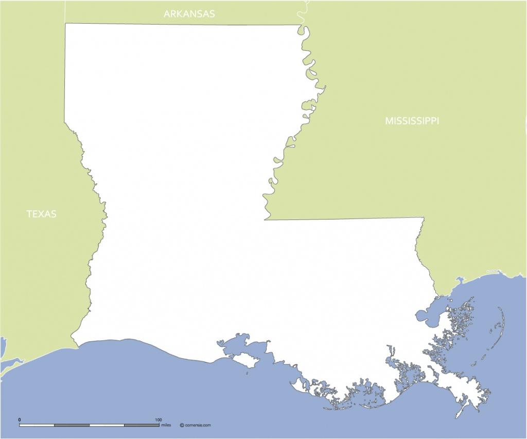 Free Blank Map Of Louisiana Us State - Texas Louisiana Border Map