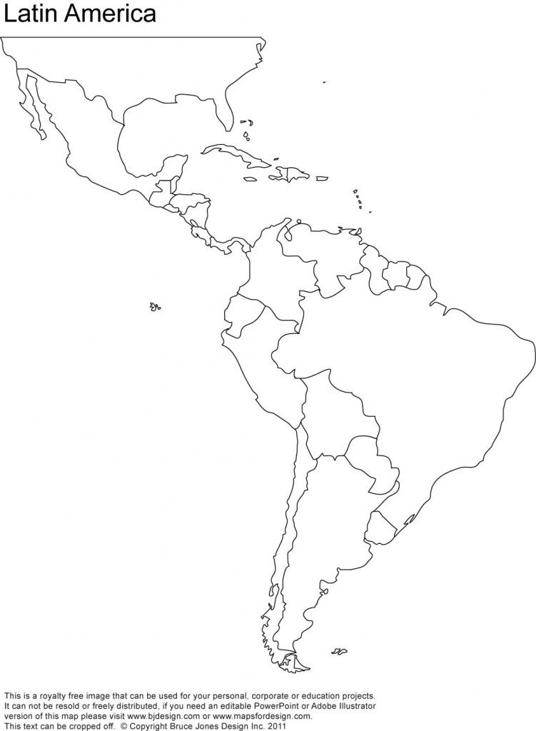 Free Blank Map Of North And South America | Latin America Printable - Printable Map Of Spanish Speaking Countries