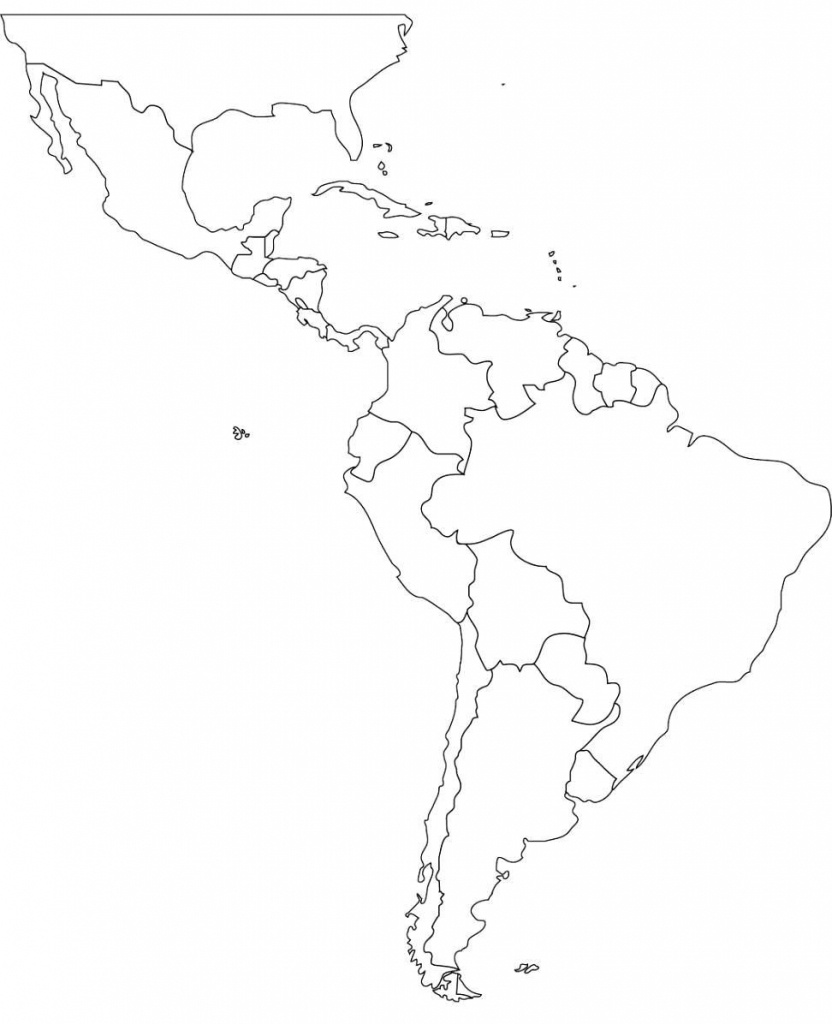 Free Blank Map Of North And South America Latin Printable In For 6 - Free Printable Map Of South America