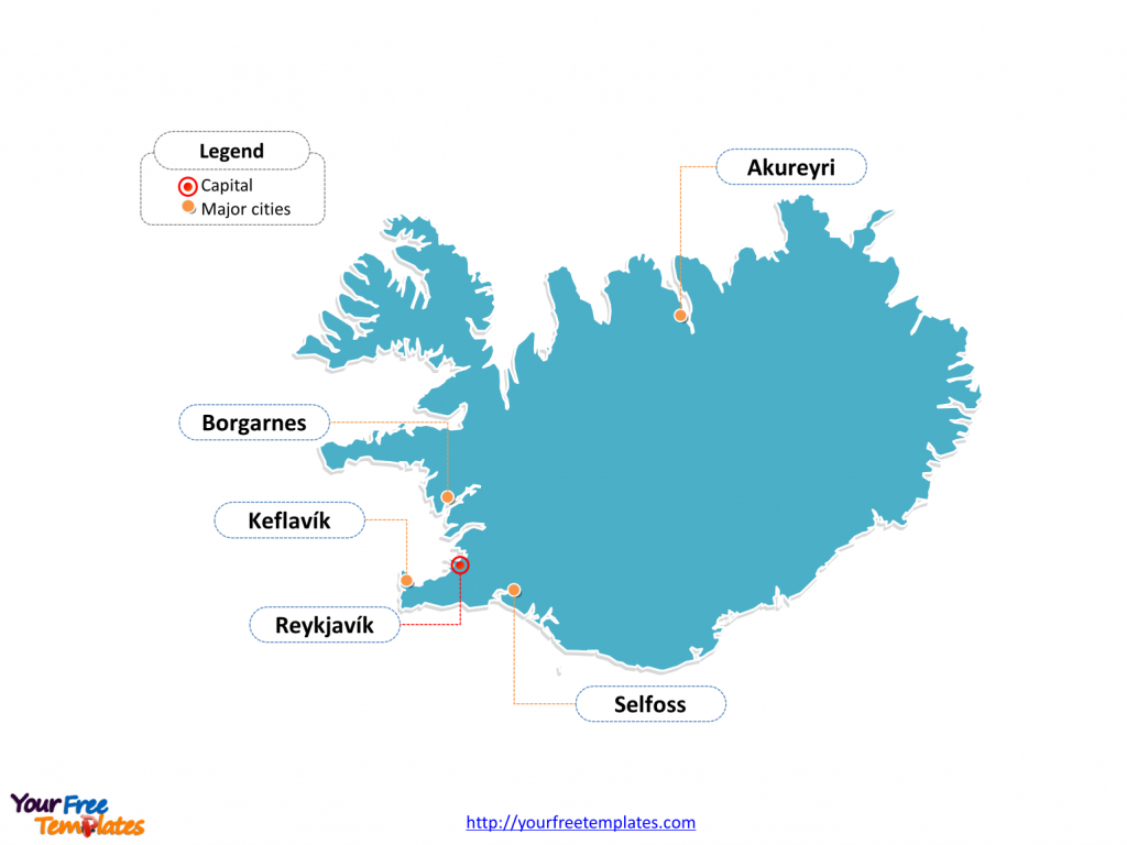 Free Iceland Map Template - Free Powerpoint Templates - Free Printable Map Of Iceland