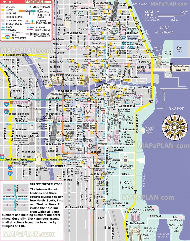 Free Inner City Magnificent Mile Shopping Malls Main Landmarks Great - Printable Map Of Downtown Chicago Streets