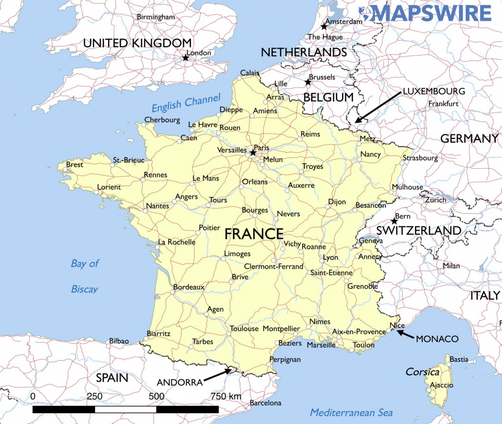 Free Maps Of France – Mapswire - Printable Map Of France