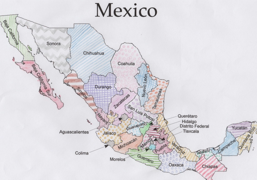 Free Mexico Geography Printable Pdf With Coloring Maps, Quizzes - Printable Map Of Mexico