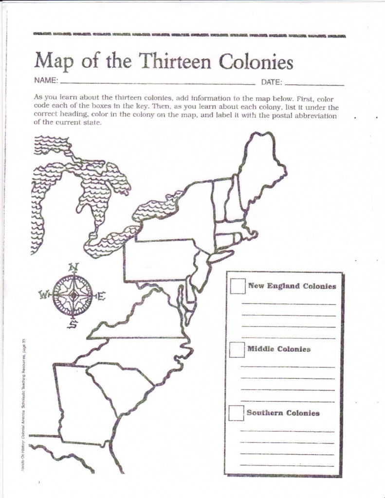 Free Printable 13 Colonies Map … | Activities | 7Th G… - Printable Map Of The 13 Colonies With Names