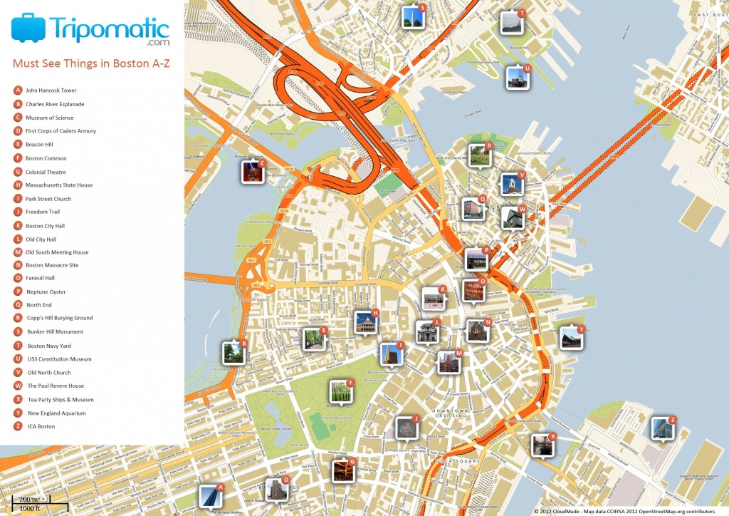 Free Printable Map Of Boston, Ma Attractions. | Free Tourist Maps - Freedom Trail Map Printable