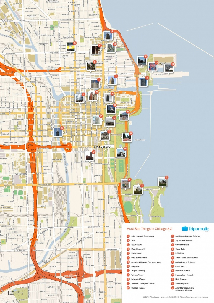 Free Printable Map Of Chicago Attractions. | Free Tourist Maps - Printable Map Of Downtown Chicago Streets