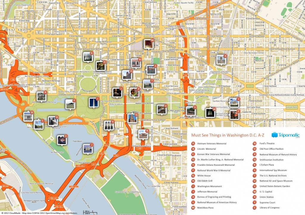 Free Printable Map Of Washington D.c. Attractions.   Washington Dc - Map Of Downtown Washington Dc Printable